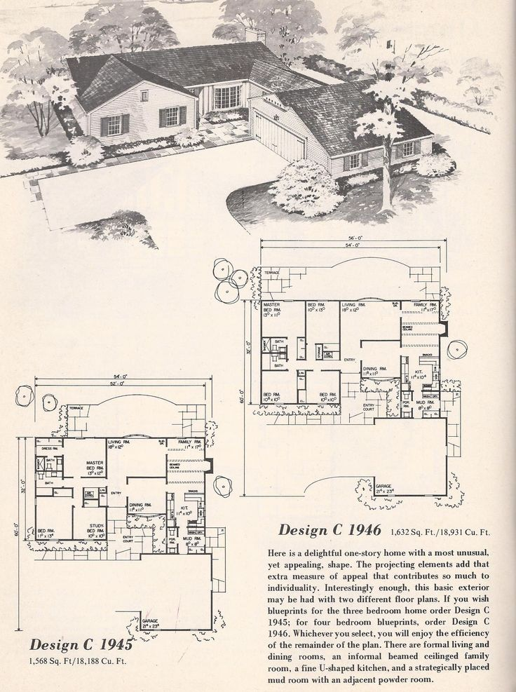 Vintage house plans vintage house plans 1960s tudor l for 1960 ranch house plans