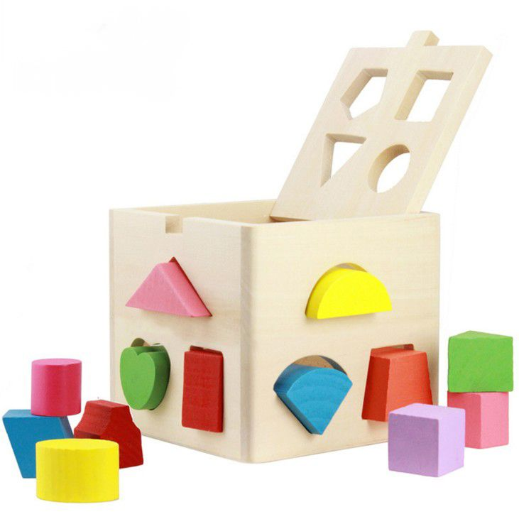 Educational Toys  Baby Intellectual  Wooden DIY  13 Holes Geometry Blocks Shape Sorting Cube Box