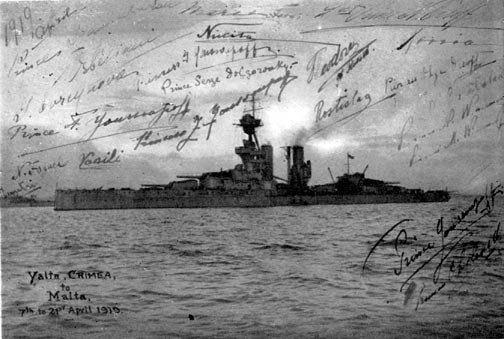 "The photo of the British cruiser ""Marlboro"" that took the last Romanovs to Malta and then to England on April, 1919. The photo is signed by all the Romanovs who left Russia on that cruiser on April, 1919 ~"