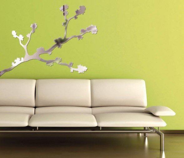 Lime Green Living Room With City Mirror Sticker Wall Decor