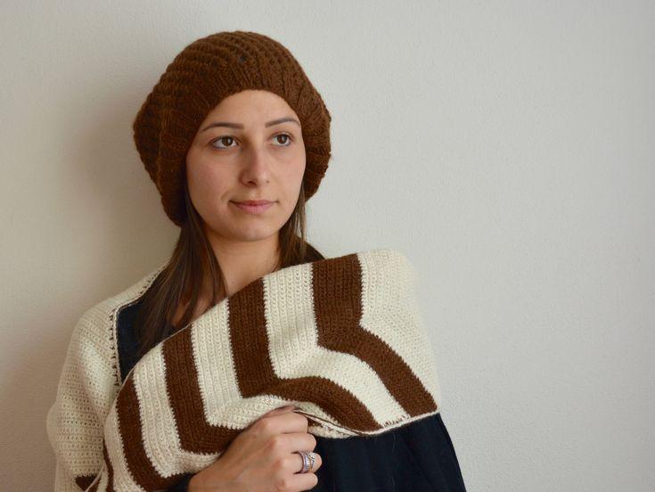Set Sciarpa e Basco Traforato, Lavorazione uncinetto e maglia, Accessori per Lei, 100% Alpaca di AlpacaDiMarano su Etsy