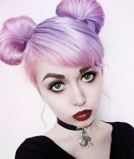 pigtail buns | Purple and Pink Pigtail Buns Hairstyle ...
