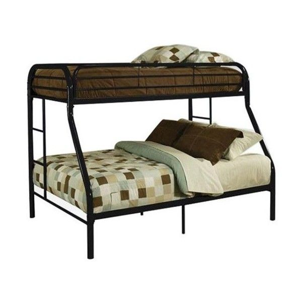 ACME Furniture Tritan Twin Over Full Metal Bunk Bed ($384) ❤ liked on Polyvore featuring home, children's room, children's furniture and black