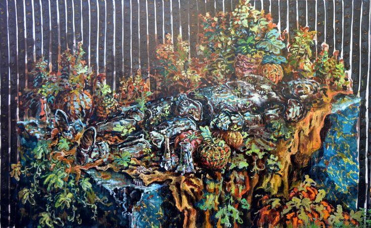 """""""accanirsi su un' idea vuota mi rompe le zucche"""",olio su tela,220x350cm, 2016 Nicola Facchini"""
