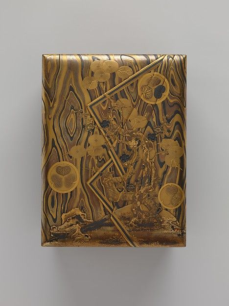 Cosmetic Box (mayudzukuri-bako) with Pine, Bamboo, Plum, and Tokugawa Family Crest on Wood-Grain Ground Period: Edo period (1615–1868)