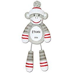 Personalized Sock Monkey Kids Christmas Ornament
