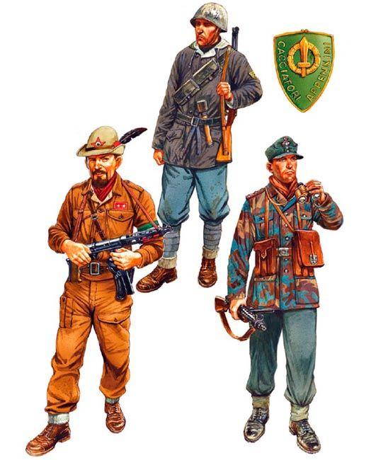 """""""Winter/Spring 1944-45: • Comandante di battaglione, unidentified 'brigata partigiana' • Soldato, I Battaglione, Raggruppamento 'Cacciatori degli Appennini' • Hauptwachtmeister, unidentified Gendarmerie unit"""", Peter Dennis"""