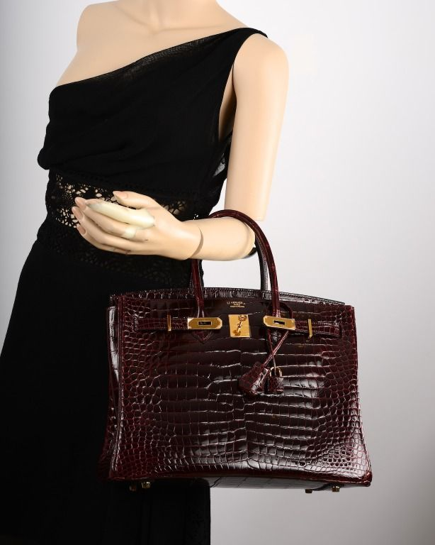 BI COLOR HERMES BIRKIN BAG 35cm BORDEAUX CROCODILE GOLD HARDWARE ...