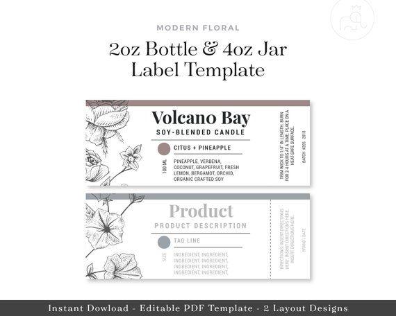 2oz Bottle 4oz Jar Labels Digital Template Essential Oil