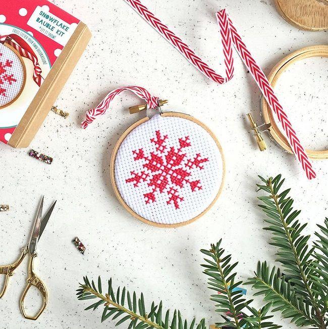 scandi christmas tree decorations, snowflake cross stitch kit