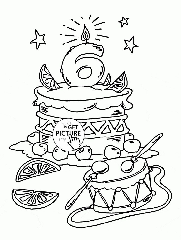 Happy 6th Birthday coloring page for kids, holiday ...