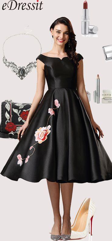 Off Shoulder Black Tea Length Dress Party Dress #eDressit