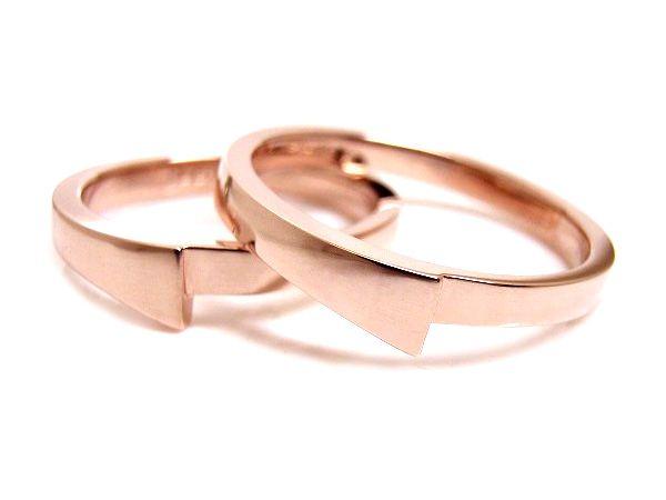 AMBRACE K18 pink gold ring stylish flat ピンクゴールド ペアリング スタイリッシュ フラット
