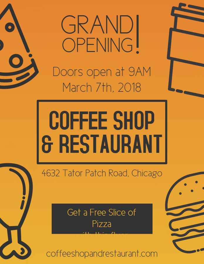 Coffee Shop Restaurant Event Grand Opening Flyer Poster Social Media
