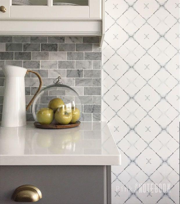 Kitchen Wallpaper / Breakfast nook / Dagfinn Grey Modern Trellis Wallpaper  via Pink Little Notebook