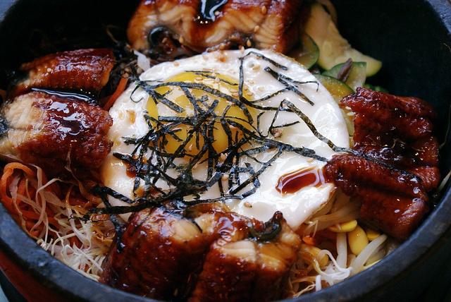 eel dolsot bibimbap - eel mixed rice bowl