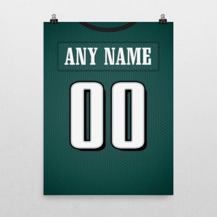 Philadelphia Eagles Jersey Poster – Print Personalized Select ANY Name & ANY Number