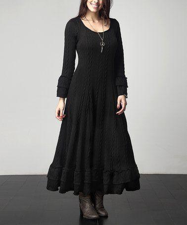 $49.99 Black Cable-Knit Ruffle Maxi Dress - Plus on #zulily! #zulilyfinds