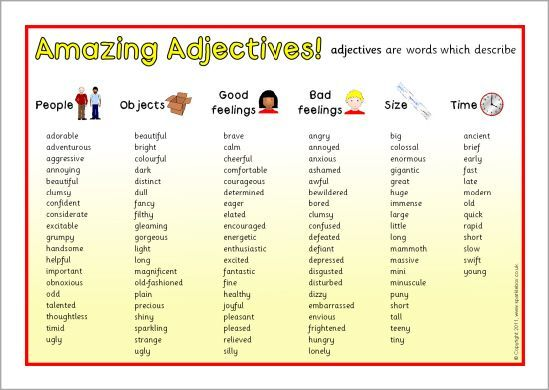adjectives summary chart - Google Search