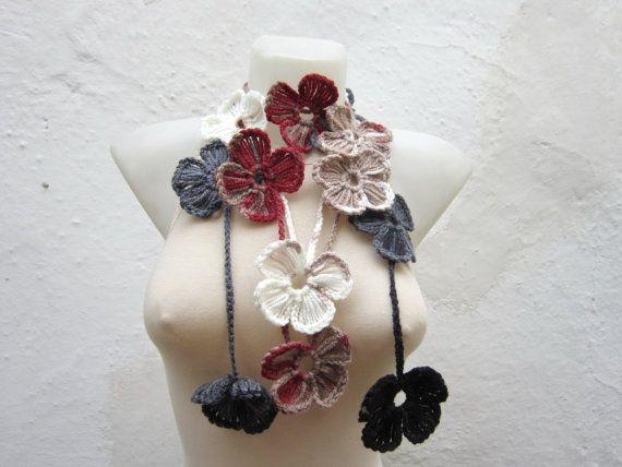 Handmade  crochet Lariat Scarf  Grey cream burgundy brown by nurlu