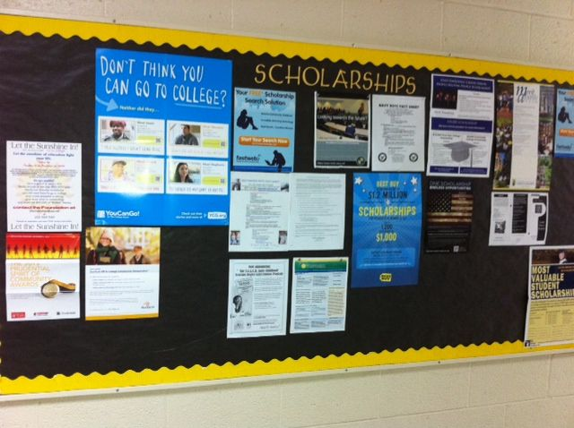Bulletin boards dedicated to scholarships (like this one at Pamlico High School) are a great way to keep students informed about up-to-date scholarship information, including application due dates and other important details.