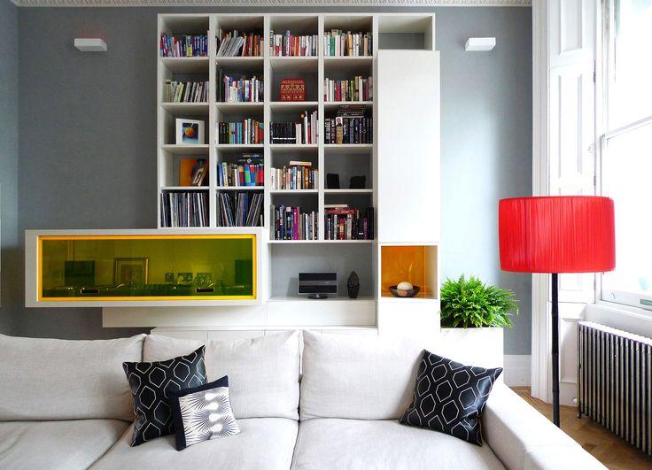 Robinson van Noort - Contemporary Residential Design, London - Queensgate, London - Living room - Interior Design - Bespoke joinery - bespoke furniture - bookcase - coloured perspex detail