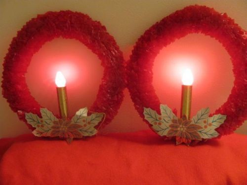 2 Vintage Christmas Red Cellophane Lighted Wreath Window