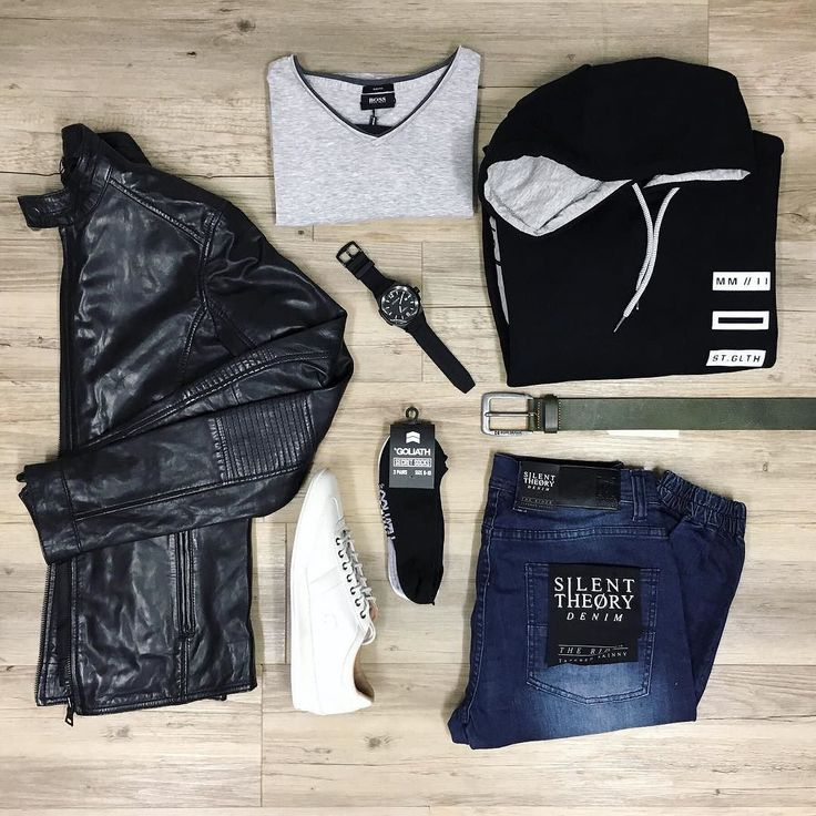 For a chilled date night or a Friday night out with the boys take your pick and pick this look - its a winner either way // Politix leather jacket NEW St Goliath hoodie NEW Silent Theory rider jeans Hugo Boss V-neck tee (on sale) Lacoste trainers Goliath invisible socks Hugo Boss belt and Otumm watch.  #mensfashion #trampsthestore #wollongong #PolitixMenswear #HugoBoss #StGoliath #SilentTheory #lacosteShoes #OtummAustralia #flatlay #autumnWinter #tailoredfashion #menWithStyle #datenight