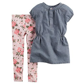 Carter's Baby Girl Chambray Top & Floral Leggings Set