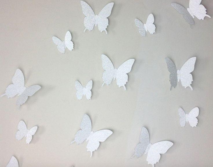 Muursticker losse 3d vlinders (zilver gliters)