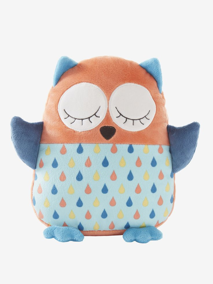 Peluche coussin hibou multicolore - Une belle idée cadeau ! Un adorable doudou qui deviendra un mini coussin pour décorer la chambre quand bébé grandit !  www.vertbaudet.fr