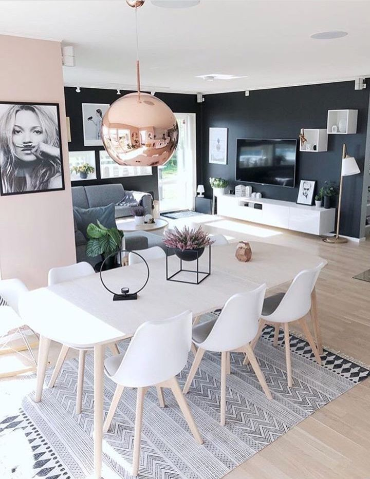 black and pale pink walls tv gallery wall inspiration are you rh pinterest com