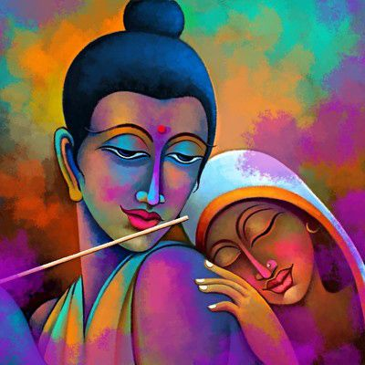 Art Factory Radha Krishna Painting Canvas Art Posters - 6112922