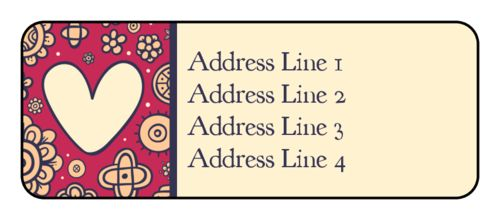 Hearts and flowers address labels