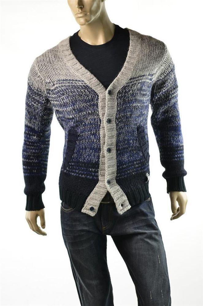 Diesel Sweaters Mens Cardigan Sweater Wool Blend Sweater Jumper Sz L Large New #Diesel #Cardigan