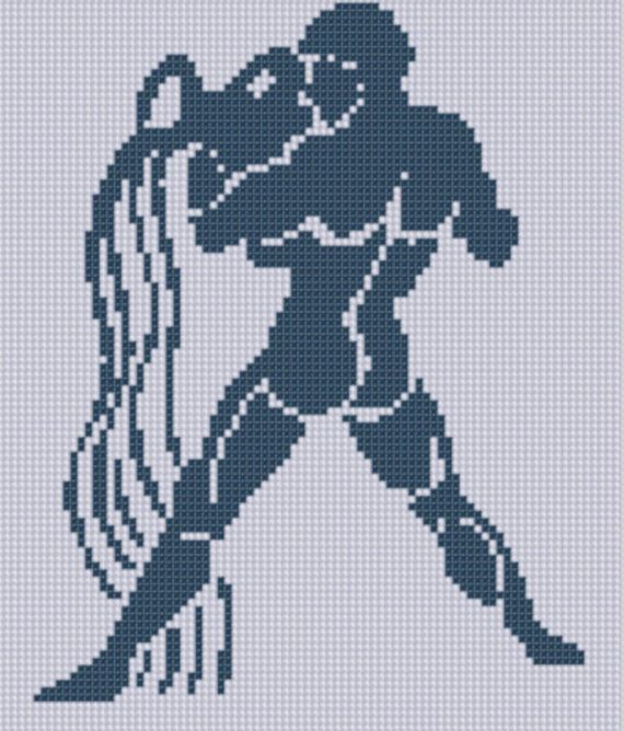 Zodiac Aquarius Cross Stitch Pattern by MotherBeeDesigns on Etsy