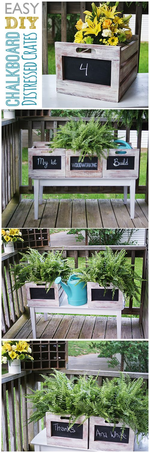 Make easy, cheap, fast chalkboard crates; Free plan from Ana White @savedbyloves