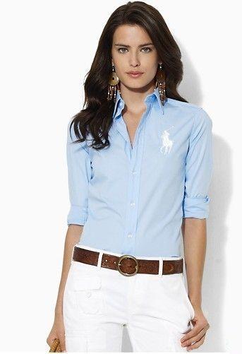 Ralph Lauren Women's 1016 Cotton Shirt in Blue