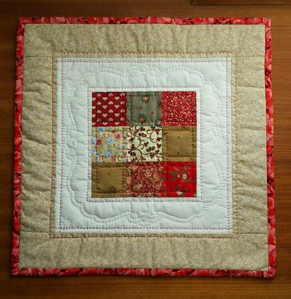 Mini Quilt Table Centrepiece Red and Brown