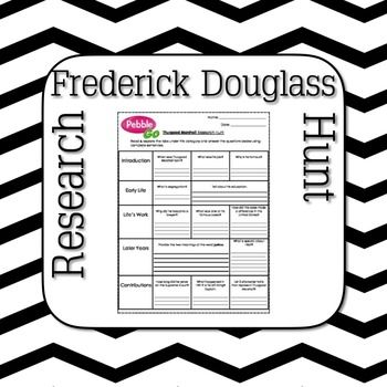 This Frederick Douglass Research hunt  is a great for students to independently research using Pebble Go or other resources. Frederick Douglass' life is outlined with supporting questions for students to discover through their online search of Frederick Douglass.