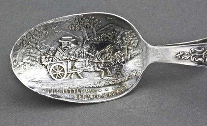 Silver Christening Present - Pusher and Spoon - This Little Pig Went To Market #pinterest #luxury