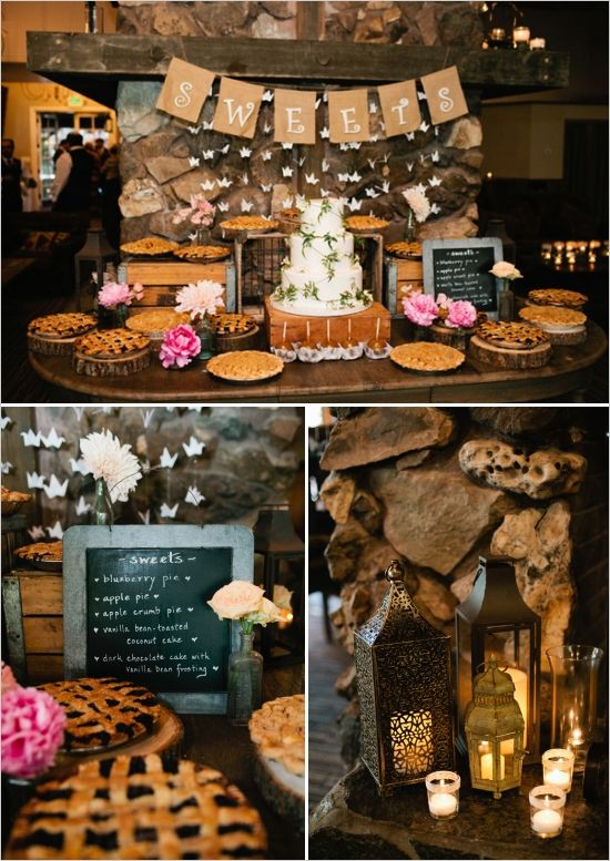 rustic fireplace dessert display http://www.weddingchicks.com/2013/09/23/rustic-pink-wedding-2/