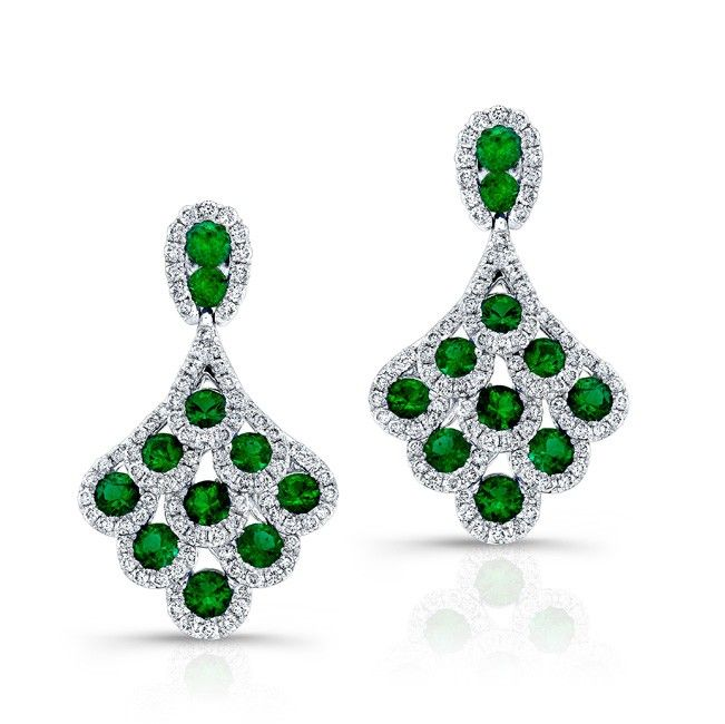 HIGH QUALITY NATURAL COLOR 18K WHITE GOLD CONTEMPORARY ROUND EMERALD DIAMOND EARRINGS COMPLEMENTED WITH ROUND WHITE DIAMONDS, FEATURING 2.82 CARAT TOTAL WEIGHT