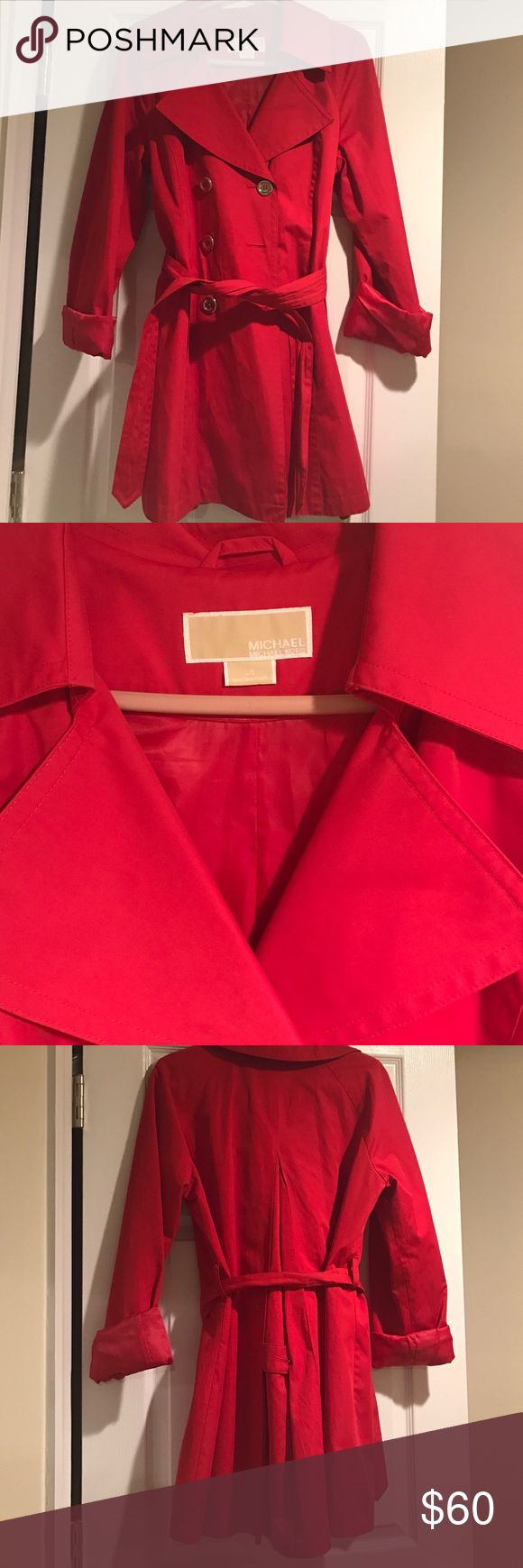 Michael Kors red trench coat Authentic, Beautiful, next to new red trench coat from Michael Kors. The color is a fun, vibrant red. Michael Kors Jackets & Coats Trench Coats