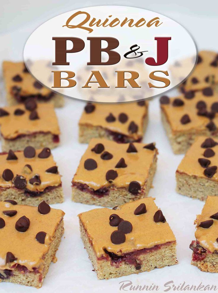 Quinoa PB&J bars - these bars happen to be gluten free and butter free and might be flirting right on the line of healthy with Bob's Red Mill Quinoa flour…