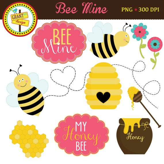 Bee Mine Valentines Clipart includes 12 cute graphics. Set includes Bee Mine and My Honey Bee labels, two bees, buzzing heart trail, looped