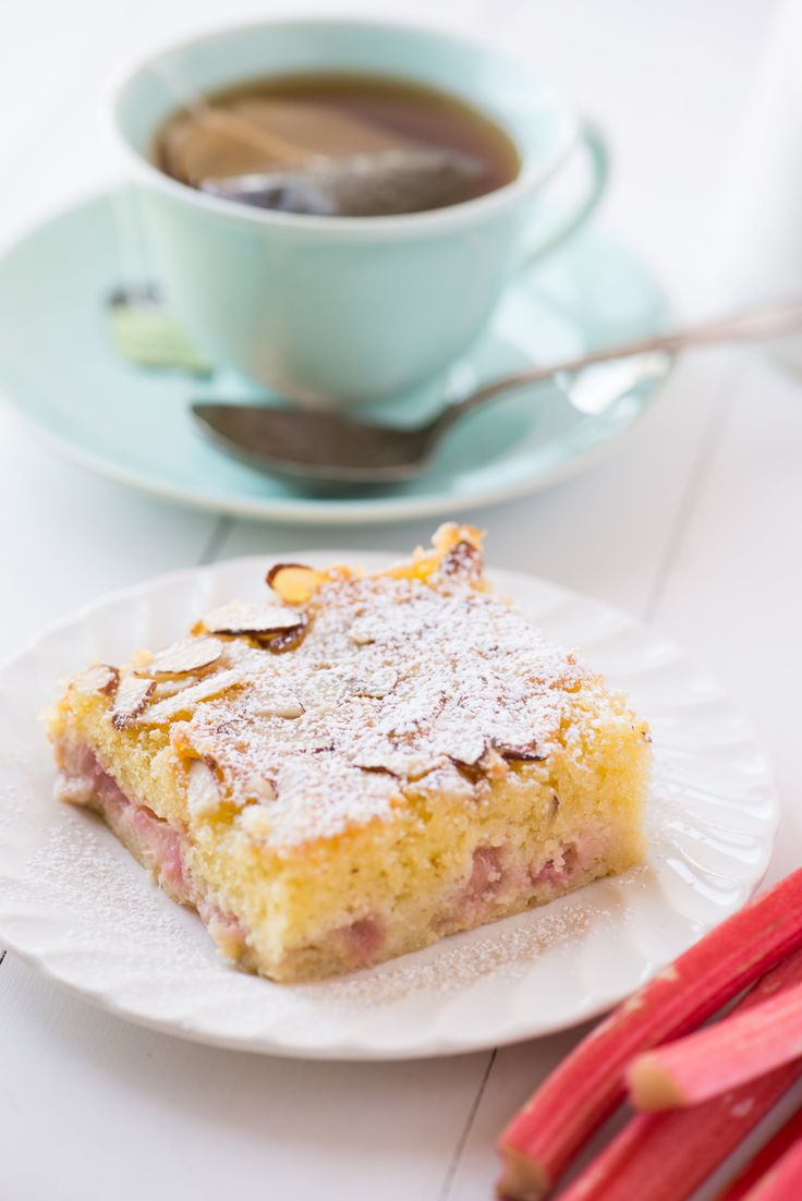 Rhubarb Almond Snack Cake