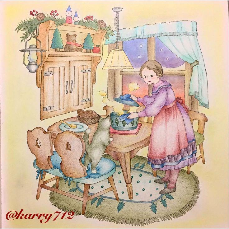 「憧れのお部屋シリーズ」 窓から見える夕暮れの感じを頑張ってみました * #おとなの塗り絵 #憧れのお部屋 #ファーバーカステル #ヴァンゴッホ色鉛筆 #パンパステル #adultcoloring #fabercastell #vangoghpencils #panpastel