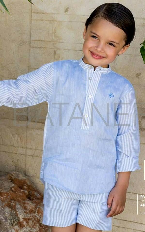 d8d3d8089 Comprar camisa de niño con cuello mao en tres linos azules de pilar  Batanero para la primavera-verano en tienda online Lila Flicka.