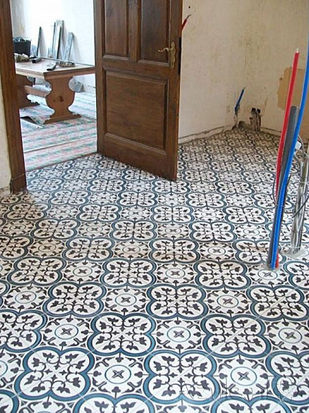 Cement tiles Living Room - Negra 05 - Project van Designtegels.nl